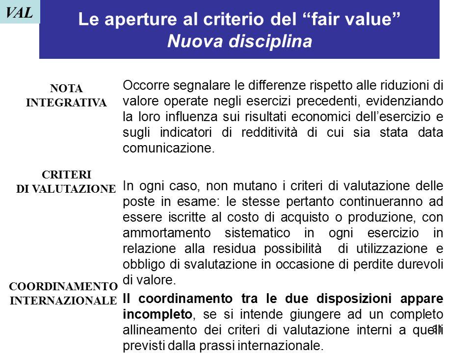 Le aperture al criterio del fair value Nuova disciplina