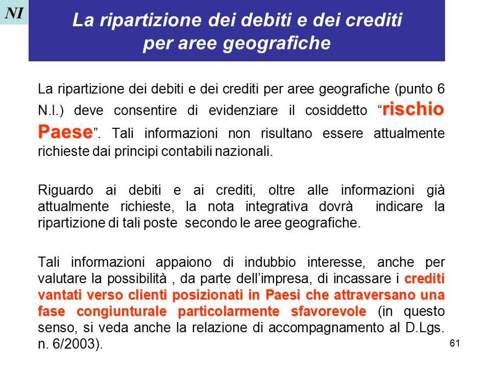 La ripartizione dei debiti e dei crediti per aree geografiche