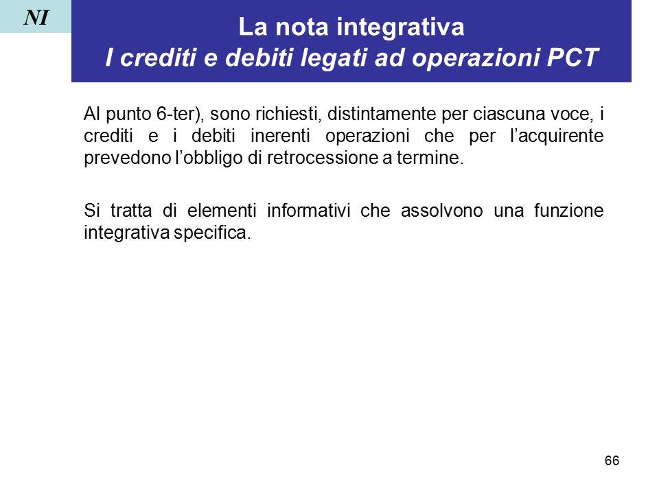 La nota integrativa I crediti e debiti legati ad operazioni PCT