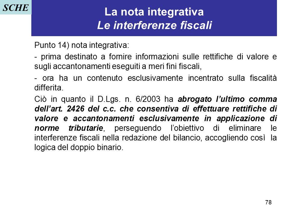 La nota integrativa Le interferenze fiscali
