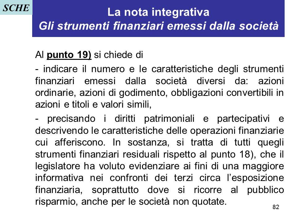 La nota integrativa Gli strumenti finanziari emessi dalla società