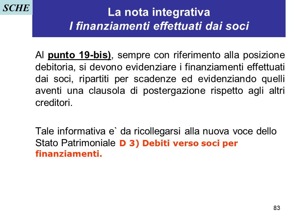 La nota integrativa I finanziamenti effettuati dai soci