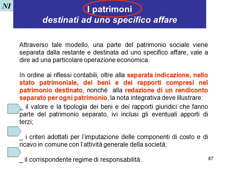 I patrimoni destinati ad uno specifico affare