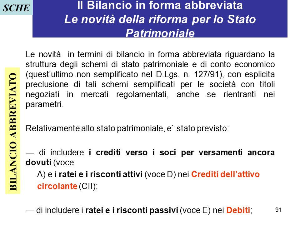 SCHE Il Bilancio in forma abbreviata Le novità della riforma per lo Stato Patrimoniale.