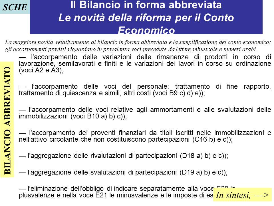 SCHE Il Bilancio in forma abbreviata Le novità della riforma per il Conto Economico.