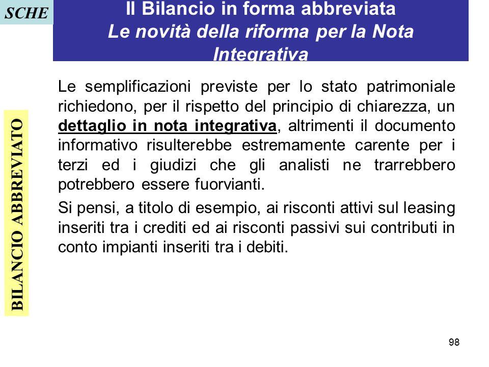 SCHE Il Bilancio in forma abbreviata Le novità della riforma per la Nota Integrativa.