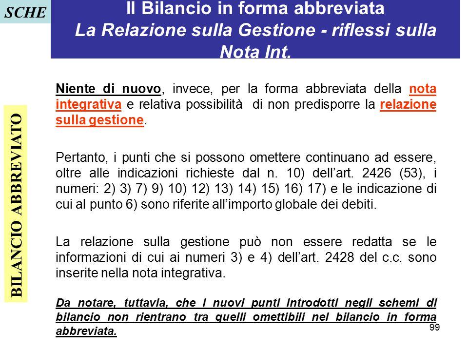 SCHE Il Bilancio in forma abbreviata La Relazione sulla Gestione - riflessi sulla Nota Int.