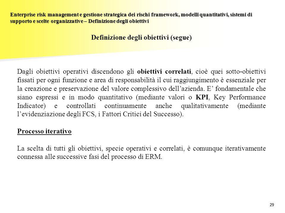 Definizione degli obiettivi (segue)