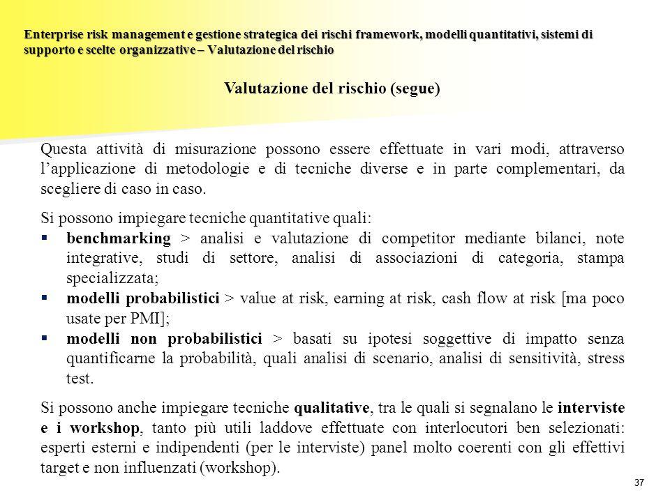 Valutazione del rischio (segue)