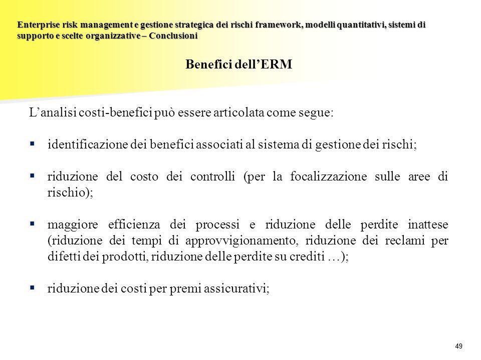 L'analisi costi-benefici può essere articolata come segue: