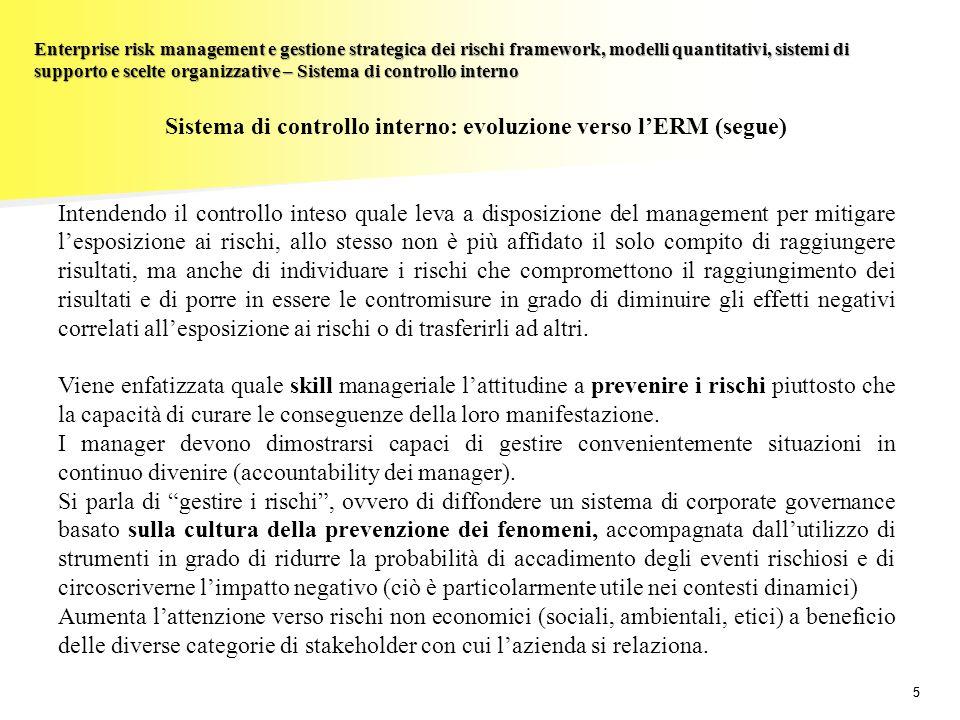 Sistema di controllo interno: evoluzione verso l'ERM (segue)