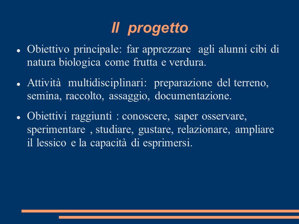 Il progetto Obiettivo principale: far apprezzare agli alunni cibi di natura biologica come frutta e verdura.