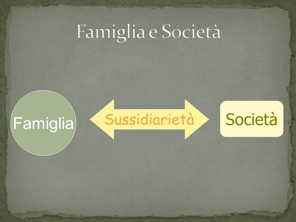Famiglia e Società Famiglia Sussidiarietà Società