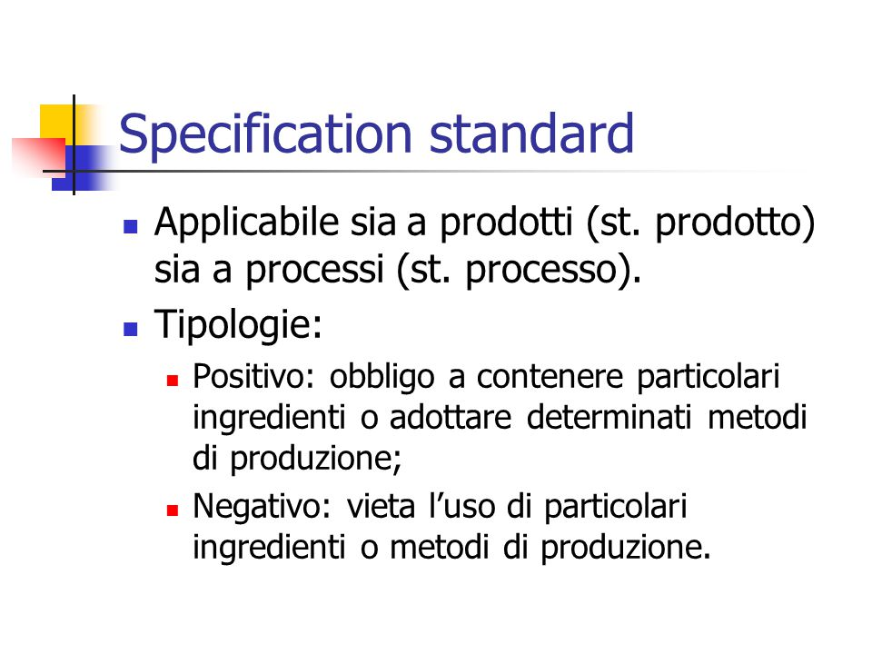 Specification standard