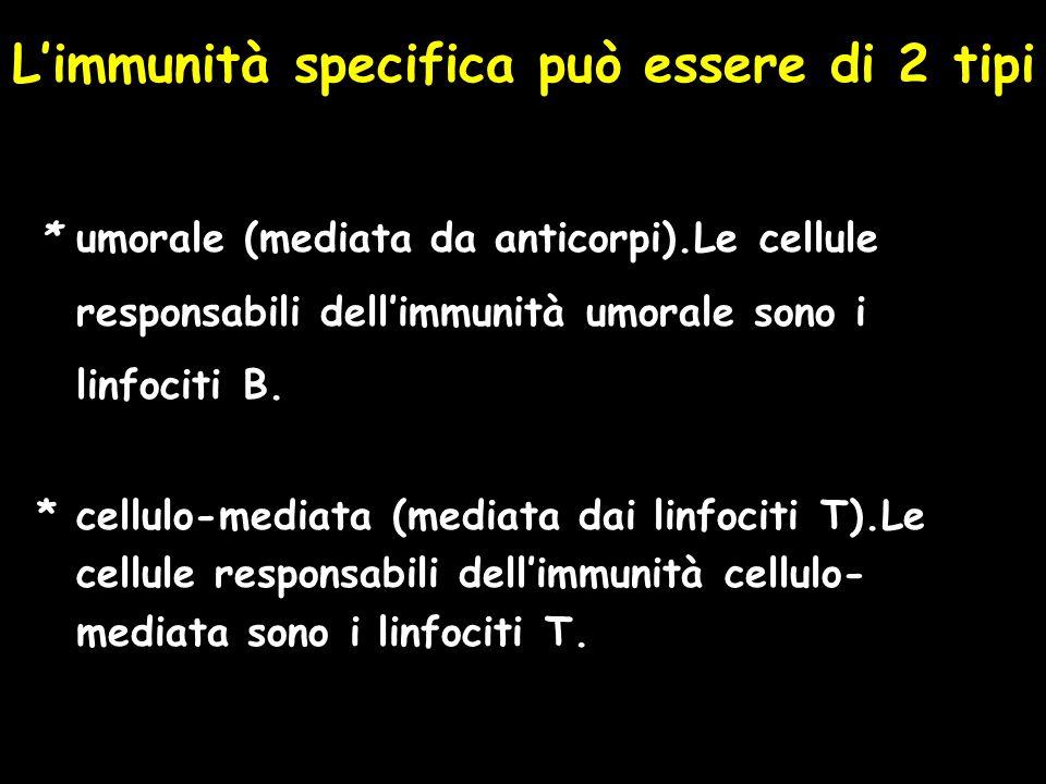 L'immunità specifica può essere di 2 tipi