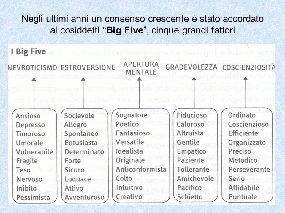 Negli ultimi anni un consenso crescente è stato accordato ai cosiddetti Big Five , cinque grandi fattori