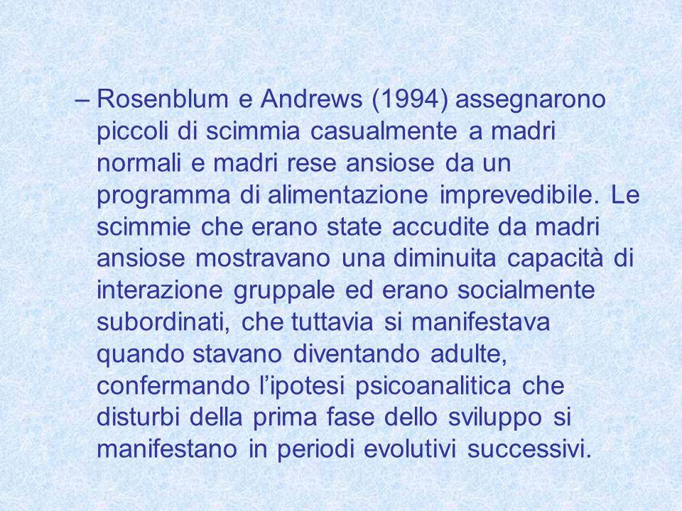 Rosenblum e Andrews (1994) assegnarono piccoli di scimmia casualmente a madri normali e madri rese ansiose da un programma di alimentazione imprevedibile.