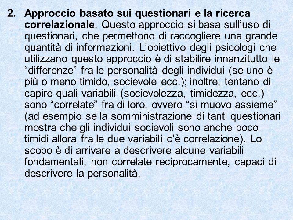 Approccio basato sui questionari e la ricerca correlazionale