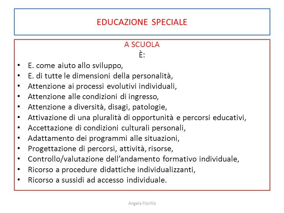 EDUCAZIONE SPECIALE A SCUOLA È: E. come aiuto allo sviluppo,