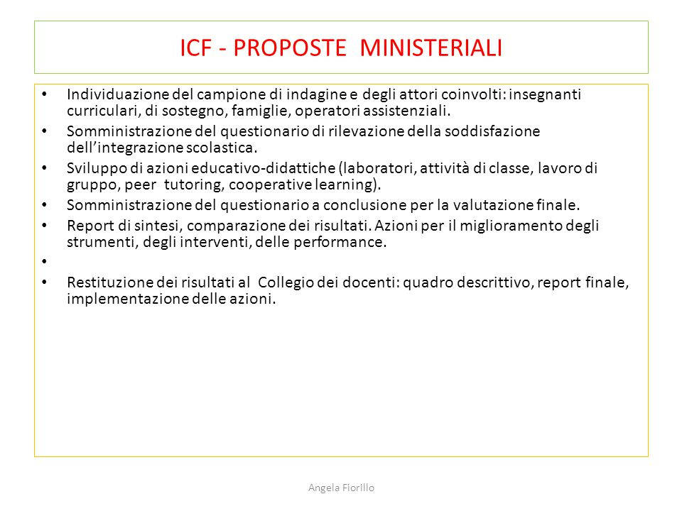 ICF - PROPOSTE MINISTERIALI
