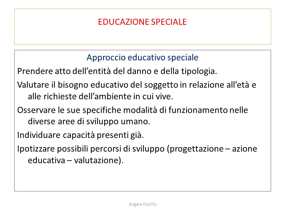 EDUCAZIONE SPECIALE
