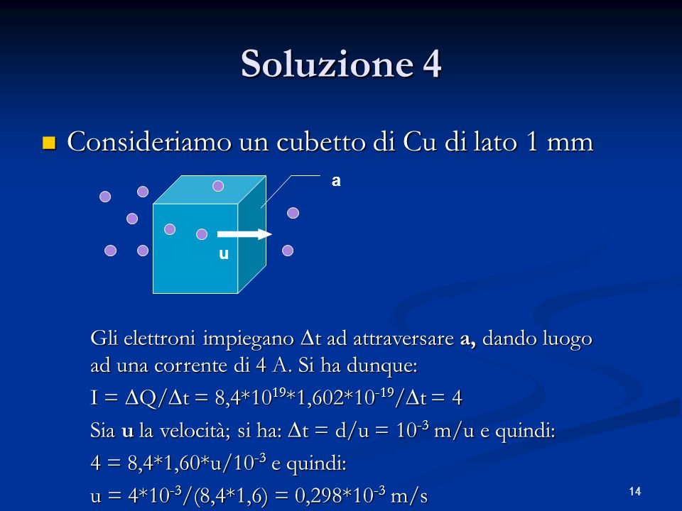 Soluzione 4 Consideriamo un cubetto di Cu di lato 1 mm