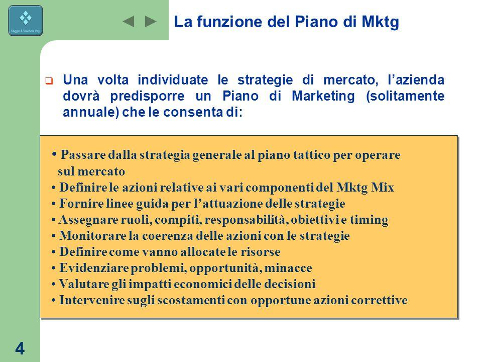 La funzione del Piano di Mktg