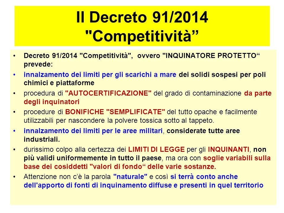 Il Decreto 91/2014 Competitività