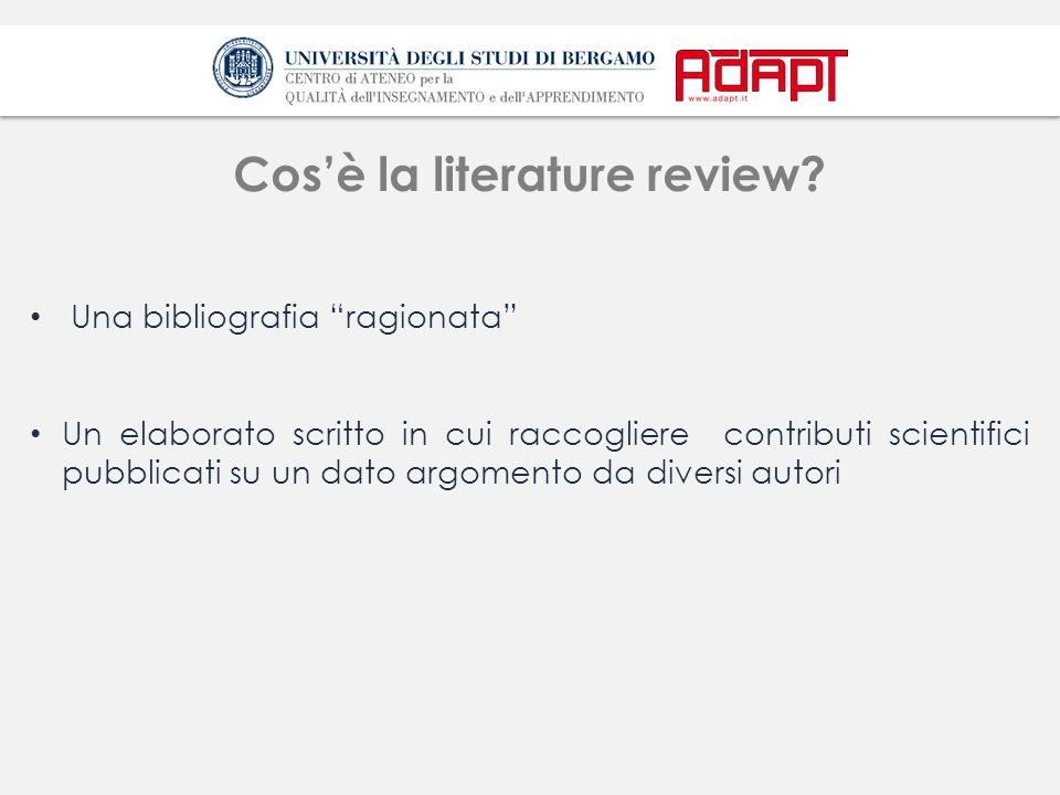 Cos'è la literature review
