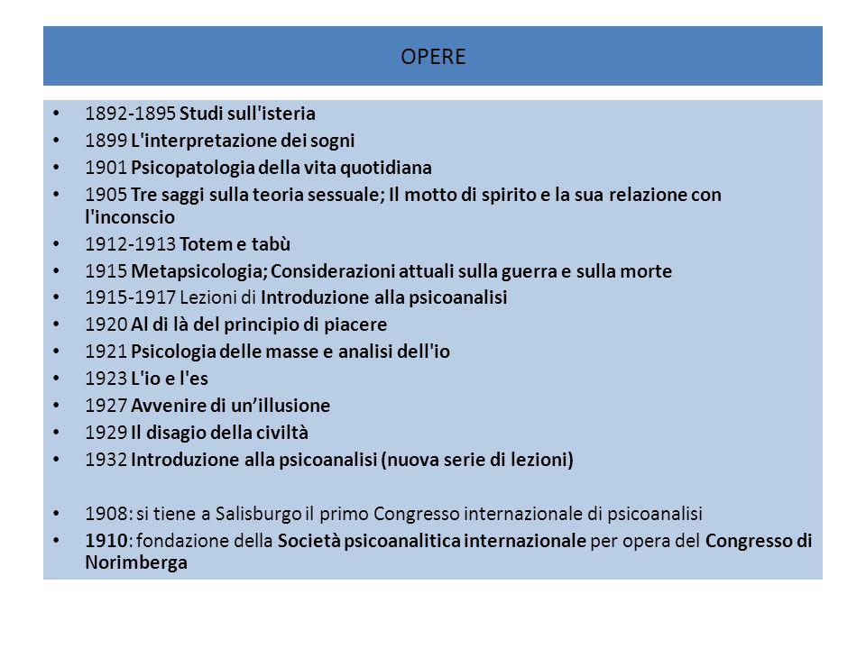 OPERE 1892-1895 Studi sull isteria 1899 L interpretazione dei sogni