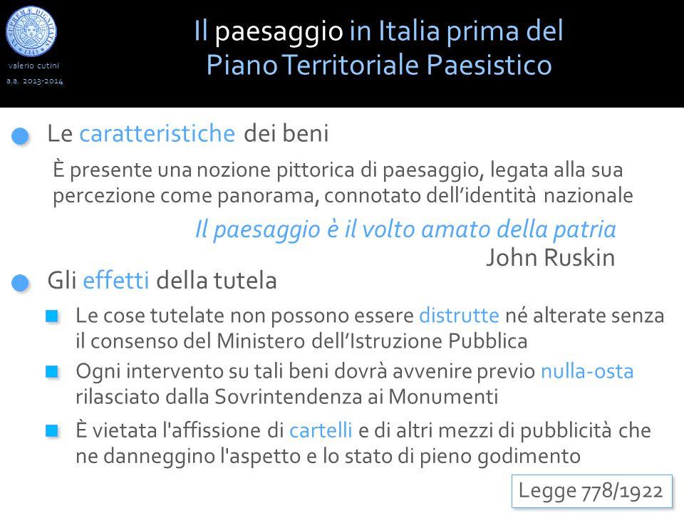 Il paesaggio in Italia prima del Piano Territoriale Paesistico