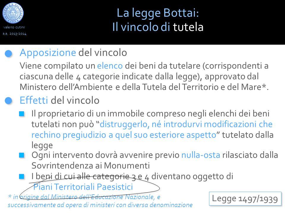 La legge Bottai: Il vincolo di tutela Apposizione del vincolo