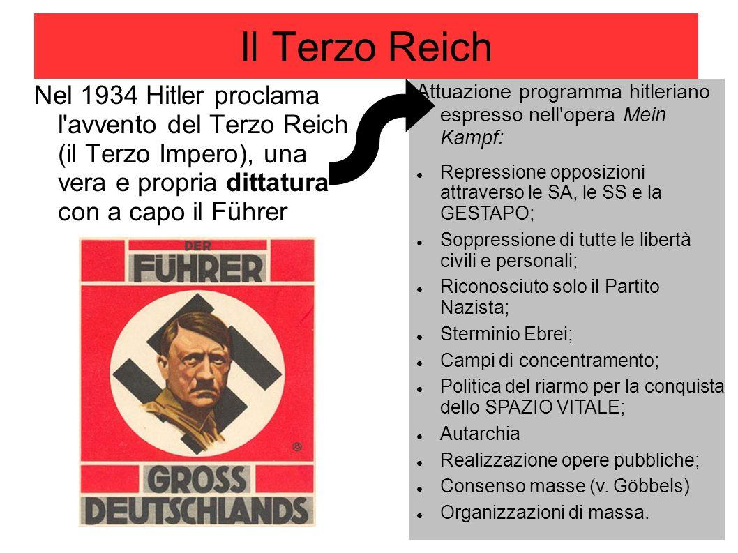 Il Terzo Reich Nel 1934 Hitler proclama l avvento del Terzo Reich (il Terzo Impero), una vera e propria dittatura con a capo il Führer.