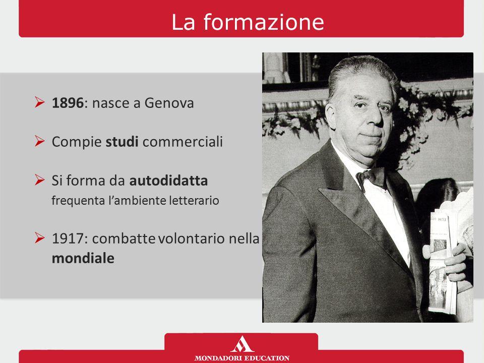 La formazione 1896: nasce a Genova Compie studi commerciali