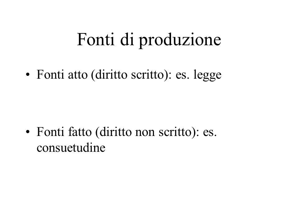 Fonti di produzione Fonti atto (diritto scritto): es. legge