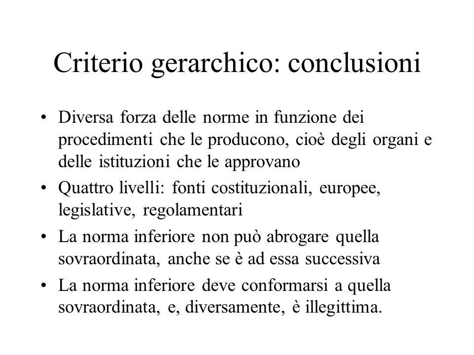 Criterio gerarchico: conclusioni