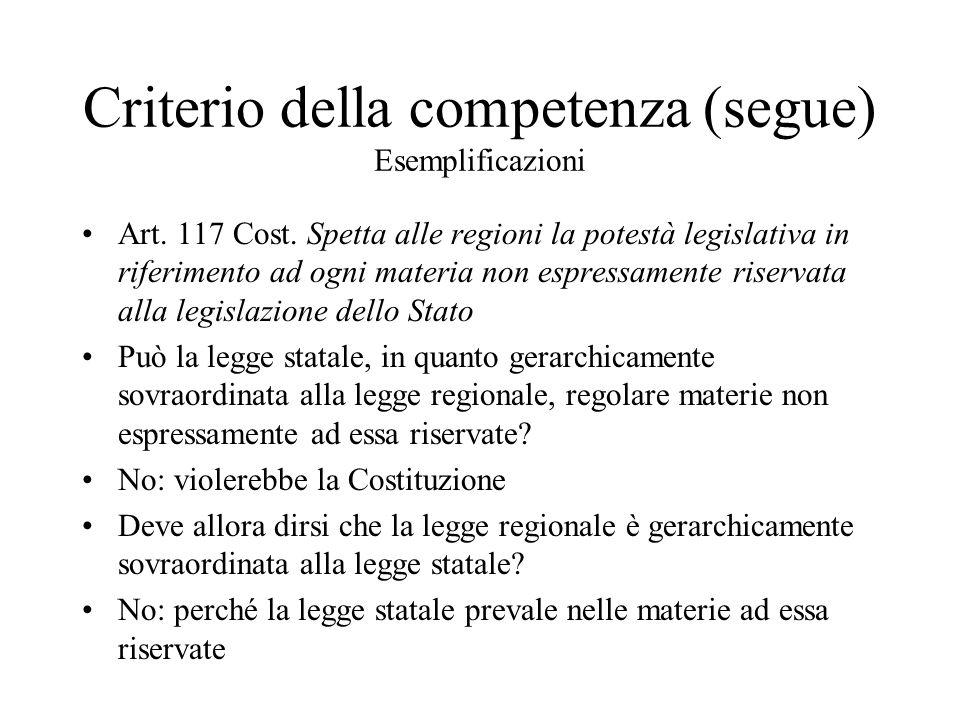 Criterio della competenza (segue) Esemplificazioni
