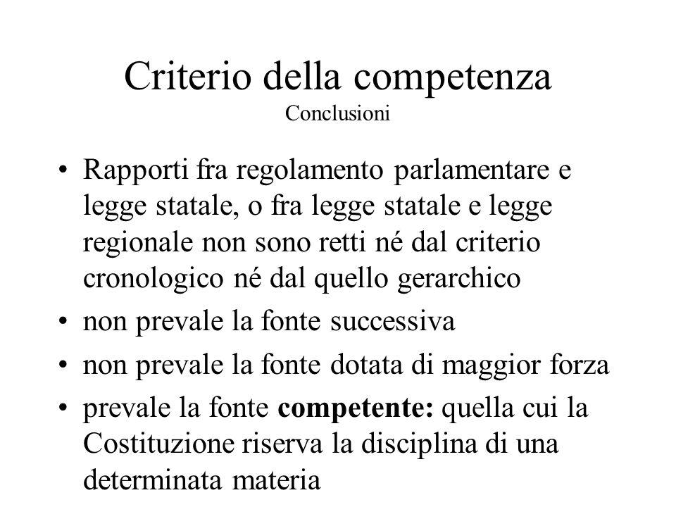 Criterio della competenza Conclusioni