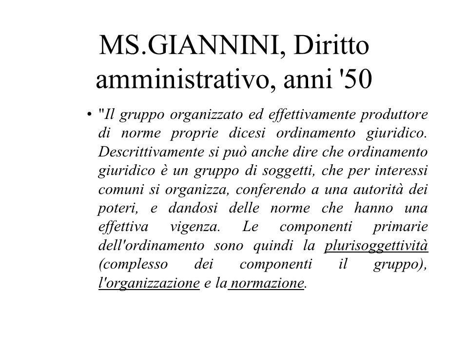 MS.GIANNINI, Diritto amministrativo, anni 50
