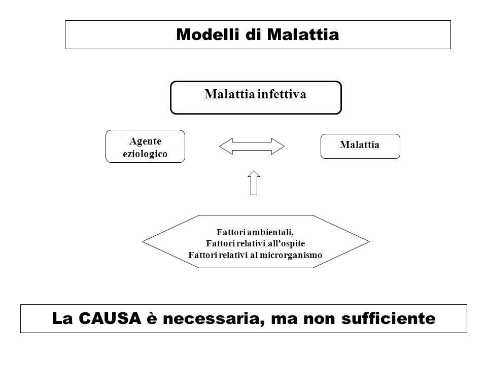 Modelli di Malattia La CAUSA è necessaria, ma non sufficiente