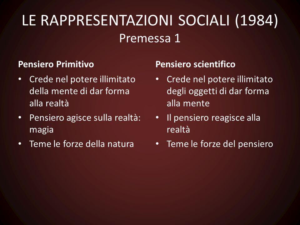 LE RAPPRESENTAZIONI SOCIALI (1984) Premessa 1