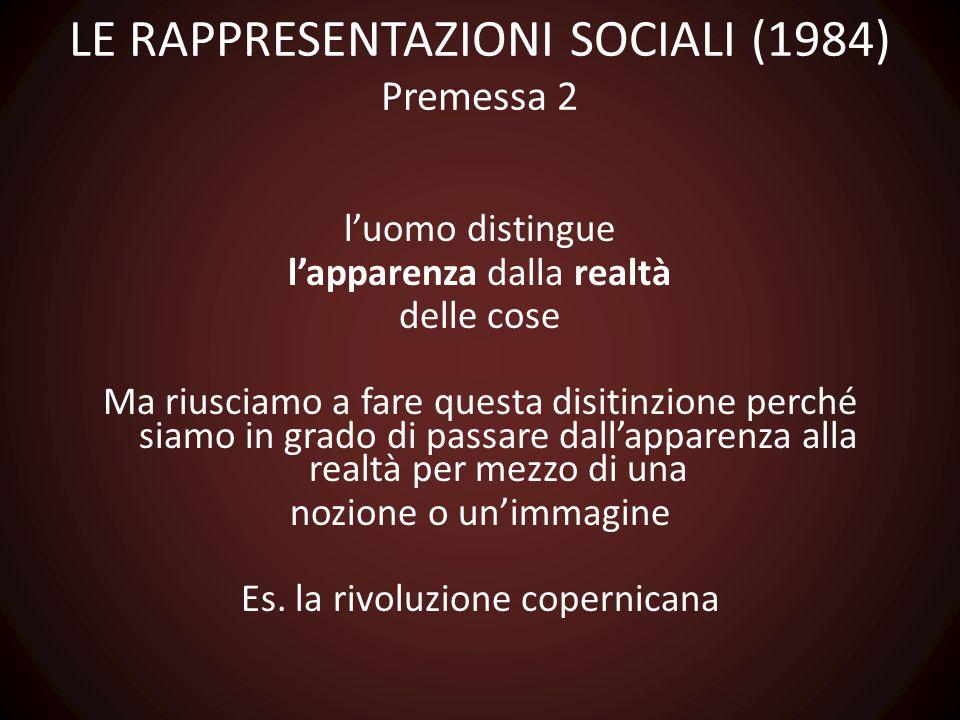 LE RAPPRESENTAZIONI SOCIALI (1984) Premessa 2