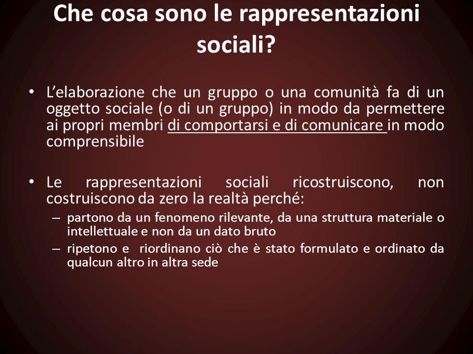 Che cosa sono le rappresentazioni sociali