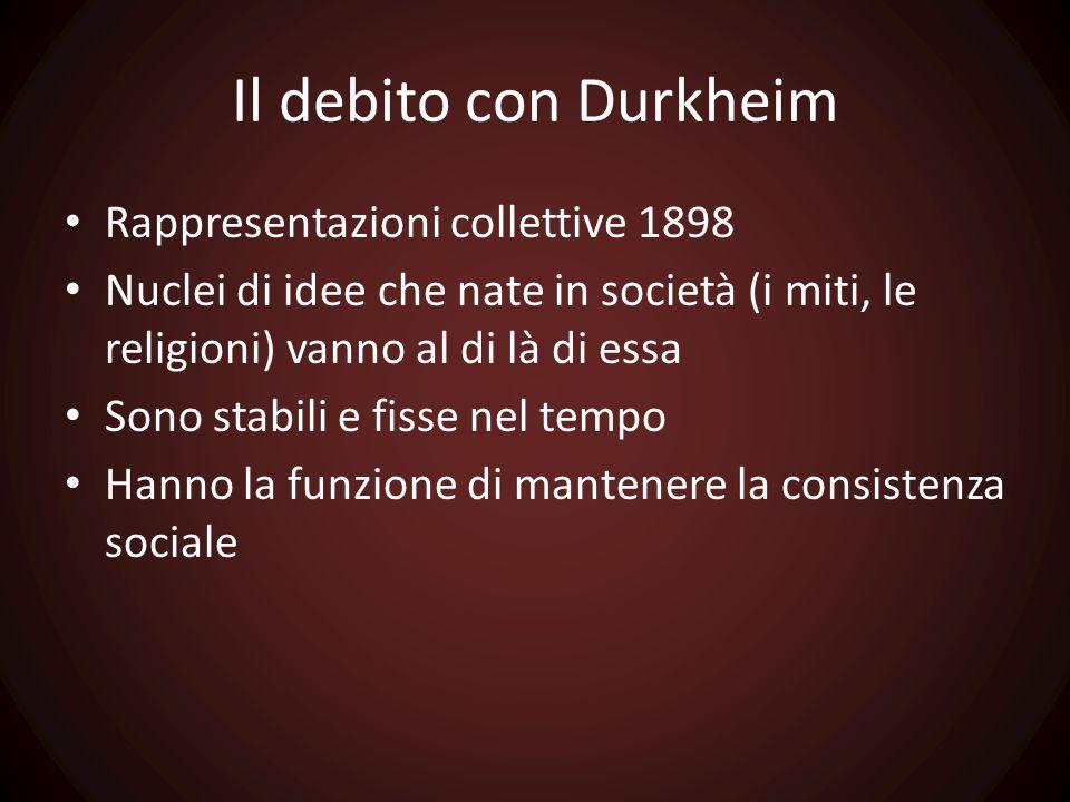 Il debito con Durkheim Rappresentazioni collettive 1898