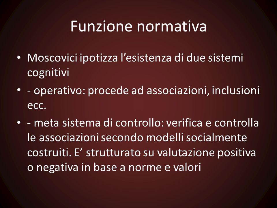 Funzione normativa Moscovici ipotizza l'esistenza di due sistemi cognitivi. - operativo: procede ad associazioni, inclusioni ecc.