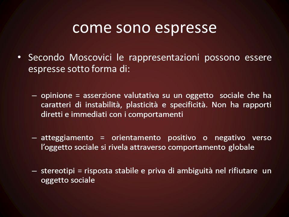 come sono espresse Secondo Moscovici le rappresentazioni possono essere espresse sotto forma di: