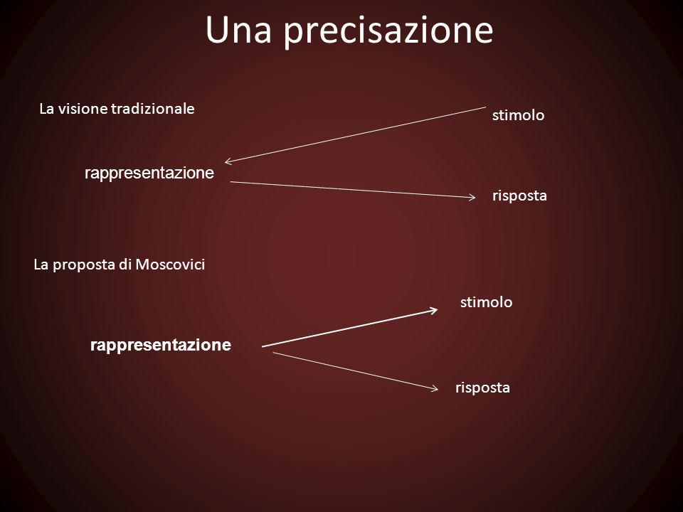 Una precisazione La visione tradizionale stimolo rappresentazione