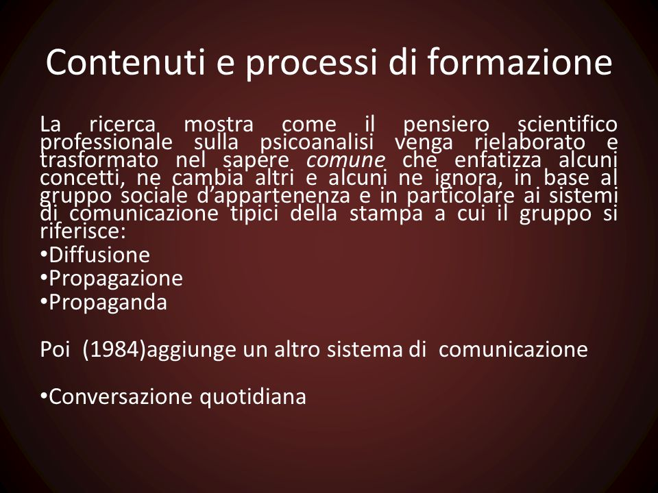 Contenuti e processi di formazione