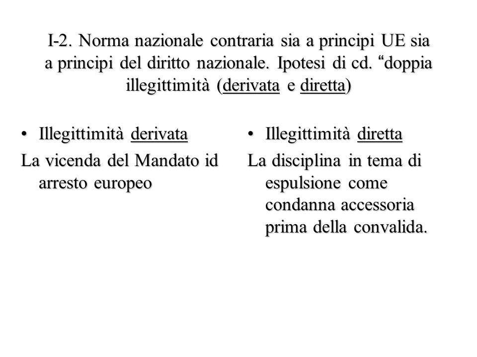 I-2. Norma nazionale contraria sia a principi UE sia a principi del diritto nazionale. Ipotesi di cd. doppia illegittimità (derivata e diretta)