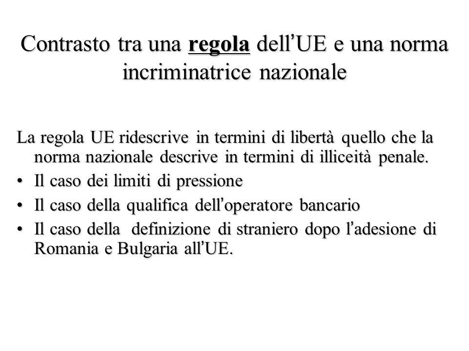 Contrasto tra una regola dell'UE e una norma incriminatrice nazionale